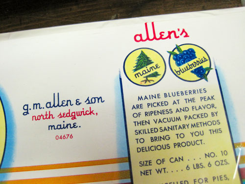 Allen's blueberries, type detail