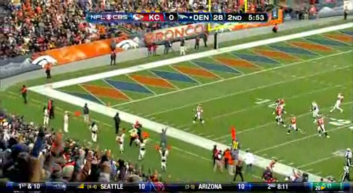 75-yard defensive touchdown, Broncos lead 35-0
