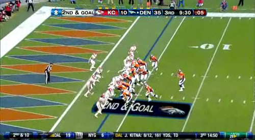 Larsen and Tebow's first passing touchdown, third quarter, 42-10