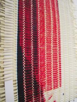 Emily Henretta weaves paper scraps, Columbia Open Studios