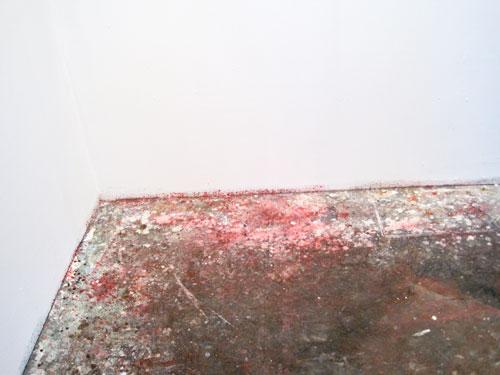 Matthew Fischer's paint-splattered floor, Columbia Open Studios