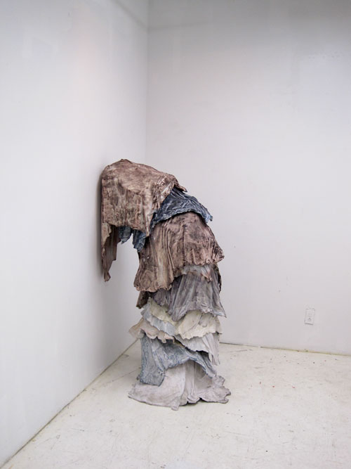 Brie Ruais' shrouded plastic figure, Columbia Open Studios