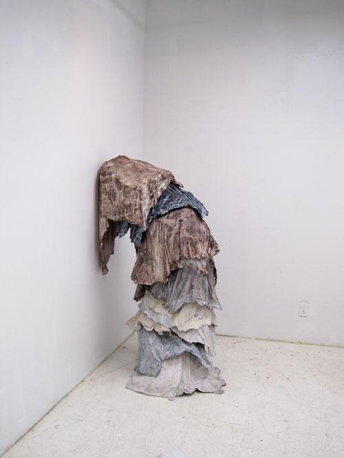 Brie Ruais' shrouded plastic figure, Columbia Open Studios