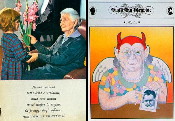 Kitschy Italian grandmother, Milton Glaser illustration