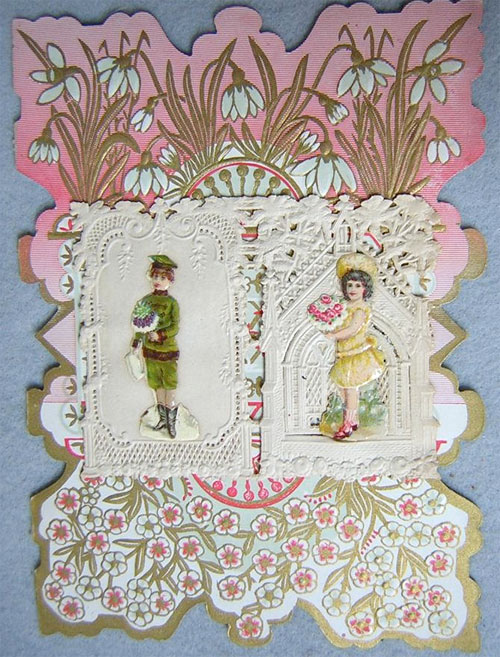 Victorian valentine: boy and girl