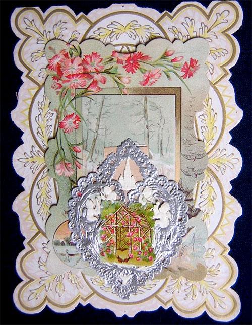 Victorian valentine: birds, flowers, cherubs