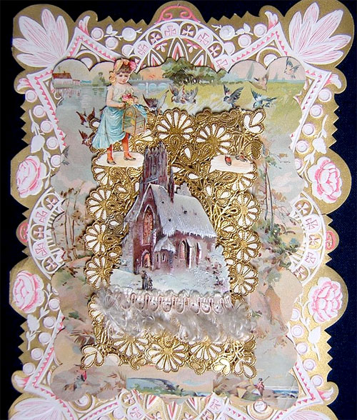 Victorian valentine: girl & snowy church