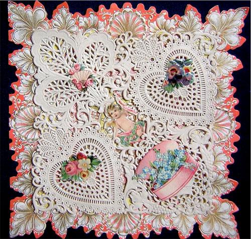 Victorian valentine: cherub & flower basket