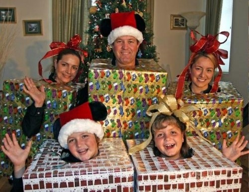 Family wrapped as Christmas presents