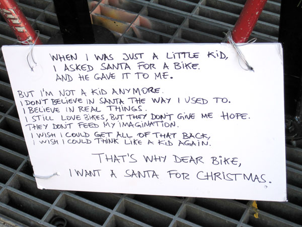 Dear Bike, I want a Santa for Christmas sign