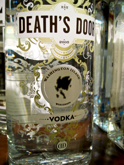 Death's Door vodka bottle medallions