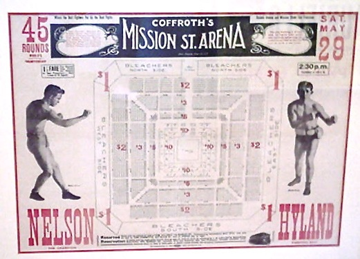 Nelson vs. Hyland vintage boxing poster