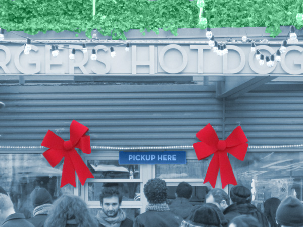 Shake Shack Christmas bows pickup window illustration