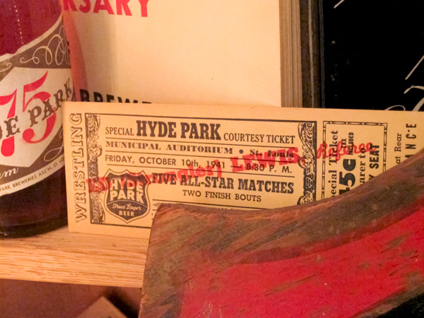 Hyde Park Beer 1941 wrestling ticket at Schlafly Bottleworks