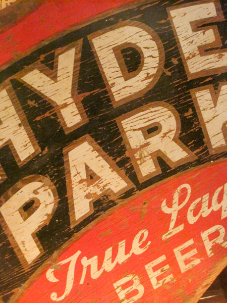 Hyde Park Lager sign at Schlafly Bottleworks