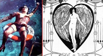 Frank-N-Furter floats; Beardsley's The Mirror of Love