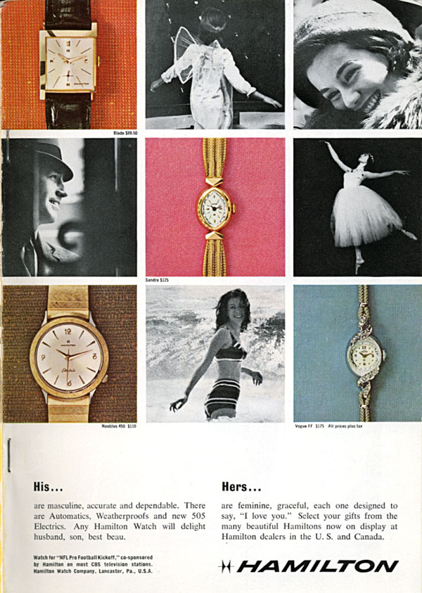 His and Hers Hamilton watch ad, National Geographic December 1963
