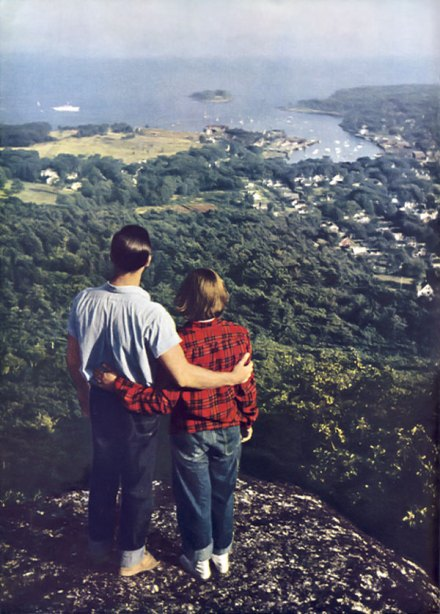 Couple's view from Mount Battie, National Geographic, September 1952