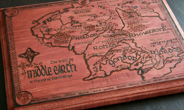 Sixth & Elm's woodburned map of Tolkien's Middle Earth