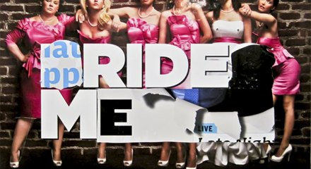 "Altered Bridesmaids movie poster, ""Ride Me"""