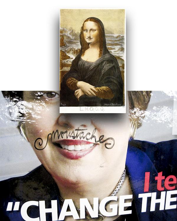 "Duchamp's ""L.H.O.O.Q"", 1919; mustachioed subway poster, Nassau Avenue G, 2011"