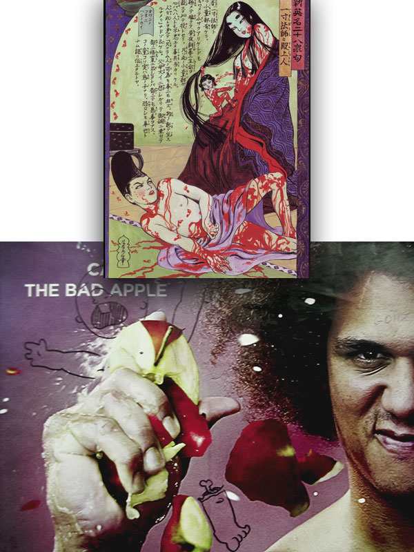 """Issunbōshi & A Nobility,"" Kazuichi Hanawa, 1988; Carlito the Bad Apple crushes a baby, Clinton-Washington G, 2005"