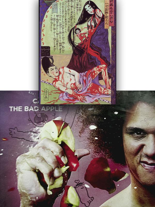 """Issunbōshi & A Nobility,"" Kazuichi Hanawa, 1988; Carlito the Bad Apple crushes a baby, Clinton-Washington G, 2005"