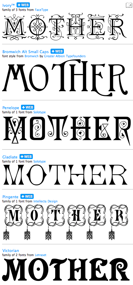 Victorian Mother's Day album on myfonts.com